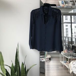 Navy Guess Blouse with Lace
